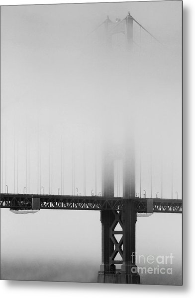 Fog At The Golden Gate Bridge 4 - Black And White Metal Print