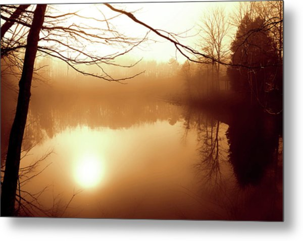 Fog On Shelly Lake - 2 Metal Print by Alan Hausenflock