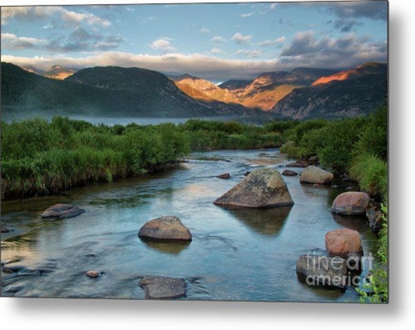 Fog Rolls In On Moraine Park And The Big Thompson River In Rocky Metal Print