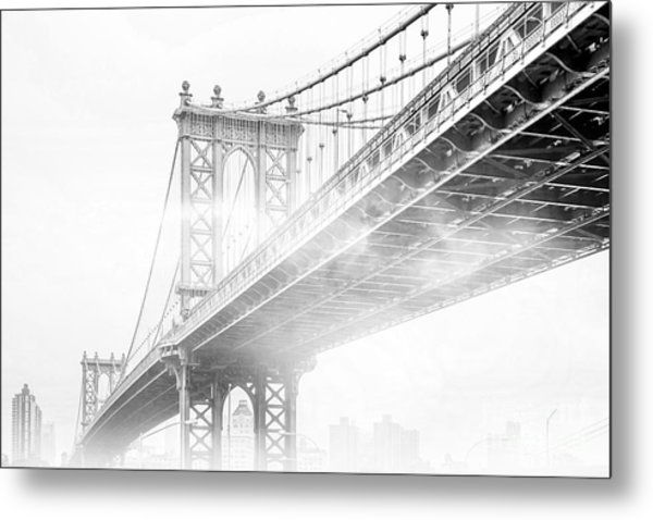 Fog Under The Manhattan Bw Metal Print
