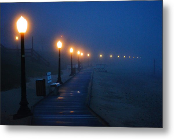 Foggy Boardwalk Blues Metal Print