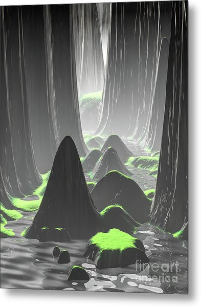 Foggy Canyon Walls Metal Print