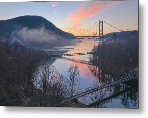 Foggy Dawn At Three Bridges Metal Print