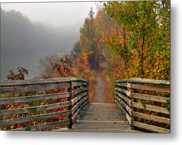 Foggy Fall Trail Metal Print