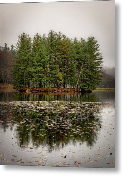 Foggy Island Reflections Metal Print