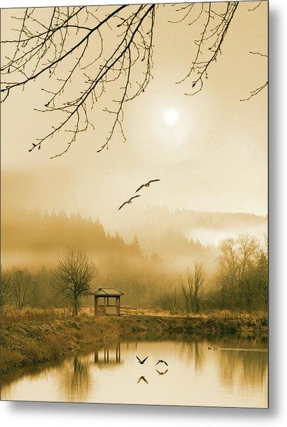Foggy Lake And Three Couple Of Birds Metal Print