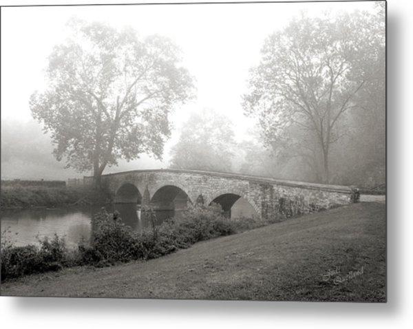 Foggy Morning At Burnside Bridge Metal Print