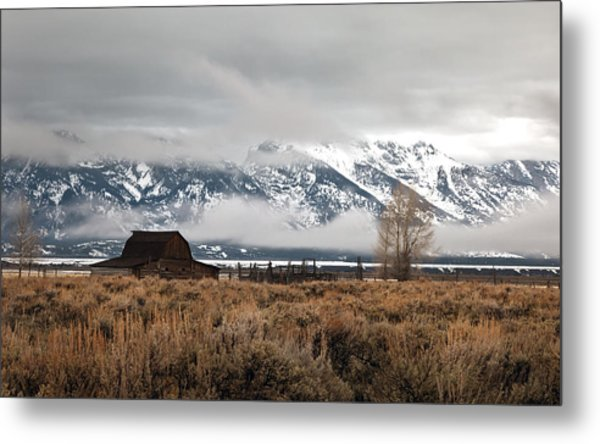 Foggy Morning At Moulton's Barn Metal Print by Robert  McCord