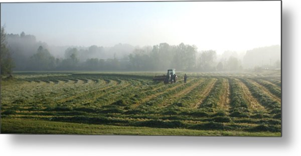 Foggy Morning Field 2 Metal Print by Janet  Telander