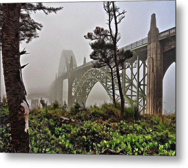 A Foggy Morning On Yaquina Bay Metal Print