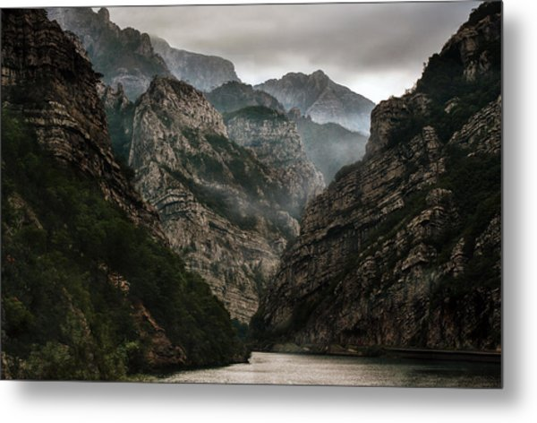 Foggy Mountains Over Neretva Gorge Metal Print
