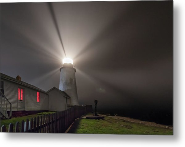 Foggy Night At Pemaquid Point Lighthouse Metal Print