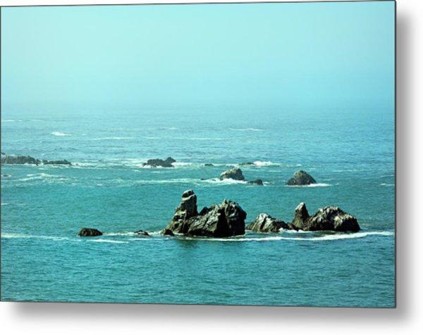 Sunny Blue Pacific Ocean Along The Oregon Coast Metal Print