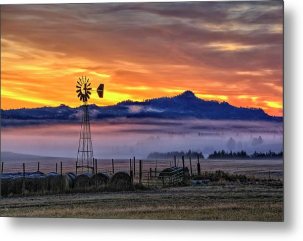Foggy Spearfish Sunrise Metal Print