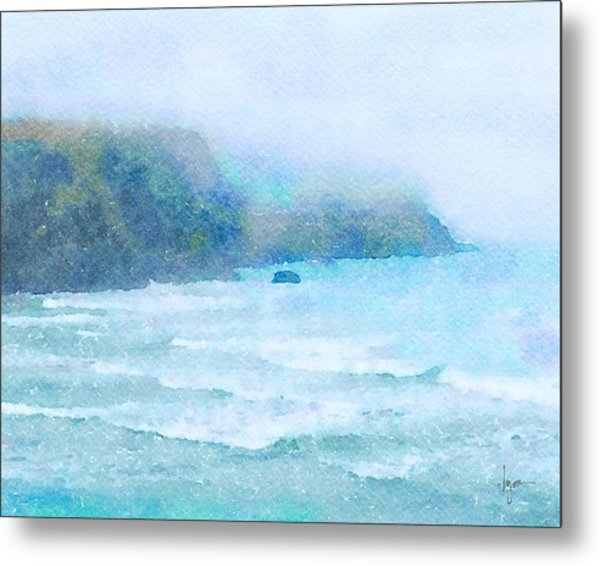 Metal Print featuring the painting Foggy Surf by Angela Treat Lyon