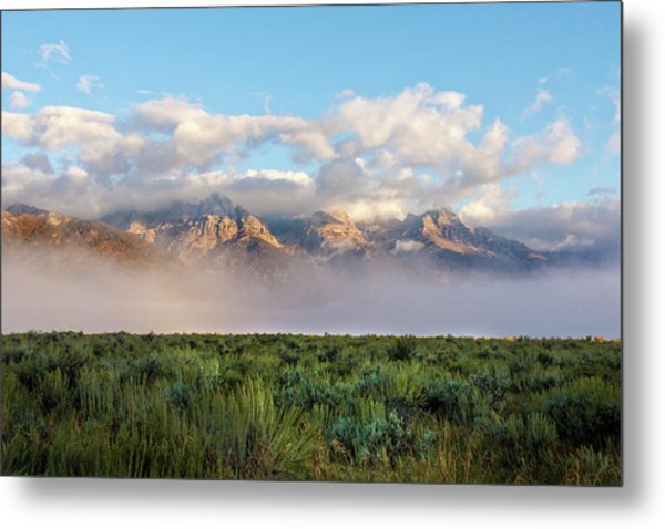 Foggy Teton Sunrise - Grand Tetons National Park Wyoming Metal Print