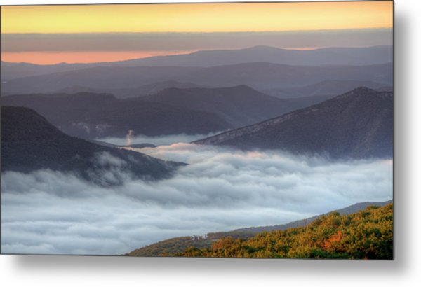 Foggy Valley Morning Metal Print by Michael Donahue