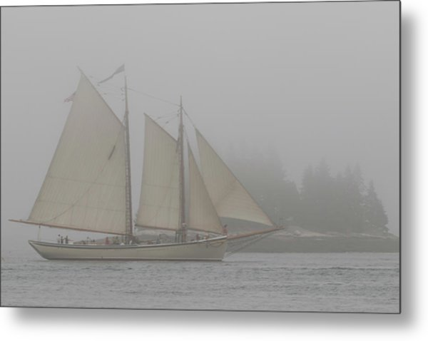 Foggy Windjammer Metal Print