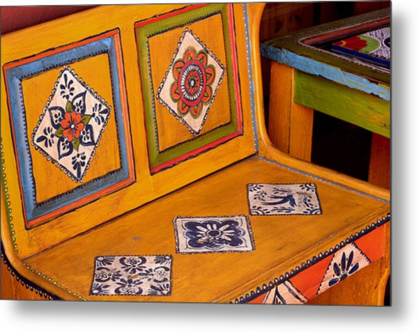 Folk-art Bench Metal Print