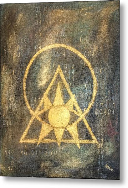 Follow The Light - Illuminati And Binary Metal Print