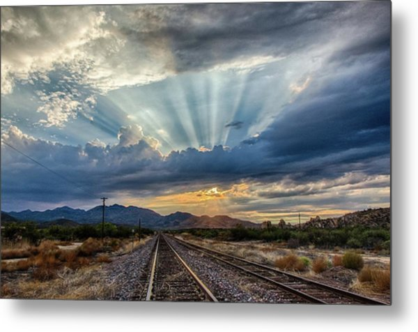 Follow The Rays Metal Print