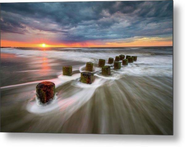 Folly Beach Charleston Sc South Carolina Sunrise Seascape Metal Print