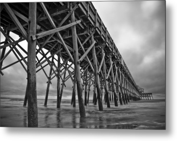 Folly Beach Pier Black And White Metal Print