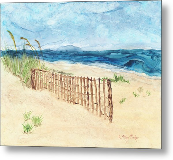 Metal Print featuring the painting Folly Field Fence by Kathryn Riley Parker