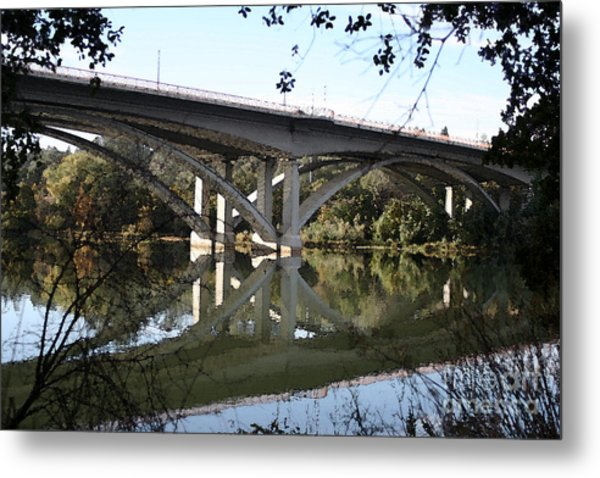 Folsom Bridge-watercolor Metal Print by Melanie Rainey