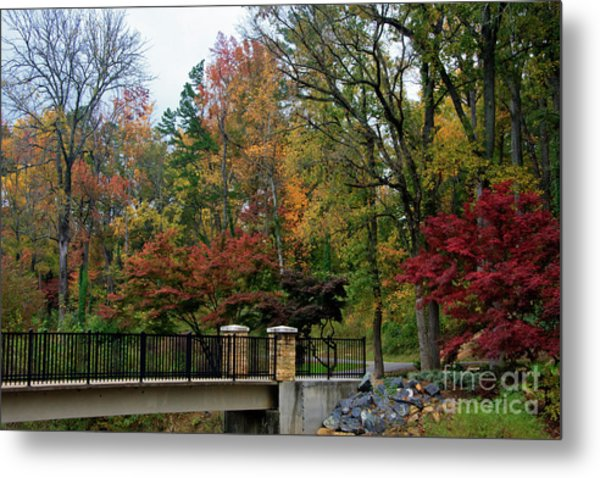 Foot Bridge In The Fall Metal Print