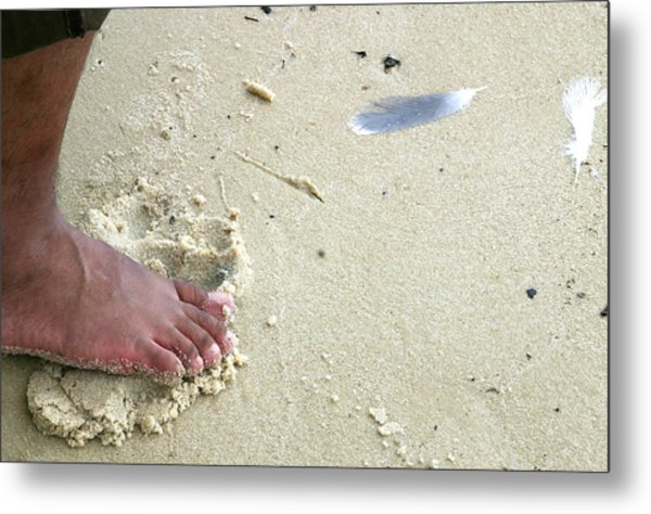 Foot  On  Beach -  Image  2 -  Cropped  Version Metal Print