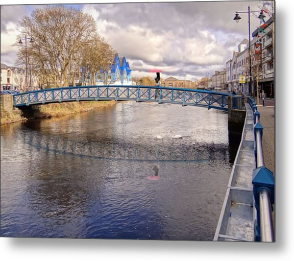 Footbridge Over The Garavogue River In Sligo With Reflections And Swans Sheltering Beneath It Metal Print
