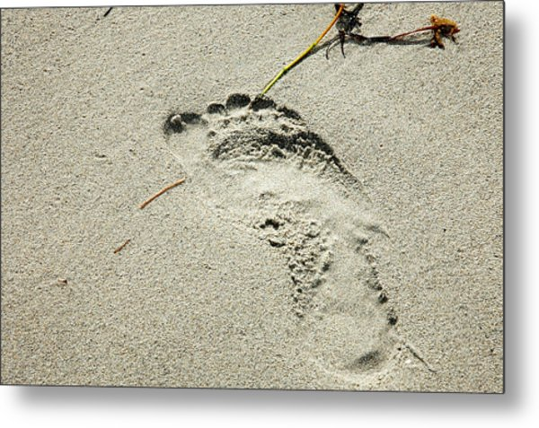 Footprint In The Sand  - South Beach Miami Metal Print