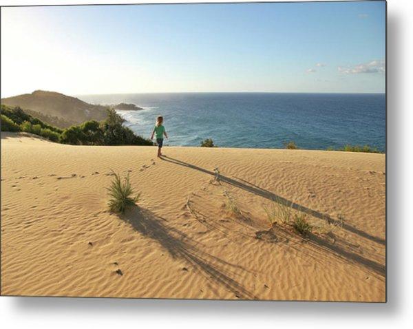 Footprints In The Sand Dunes Metal Print