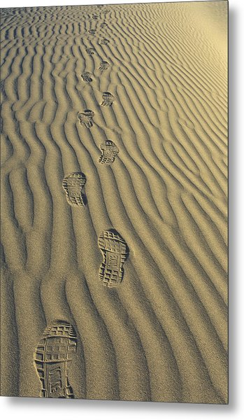 Footprints In The Sand Metal Print