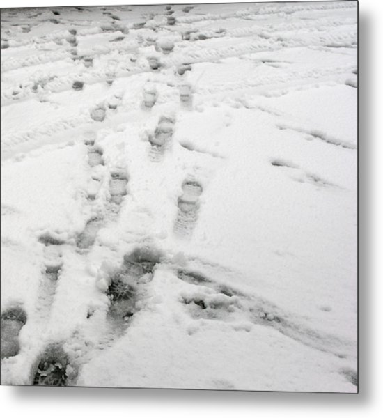 Footprints In The Snow Metal Print by Janis Beauchamp