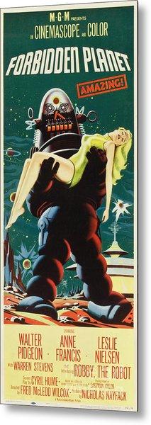 Forbidden Planet In Cinemascope Retro Classic Movie Poster Portraite Metal Print