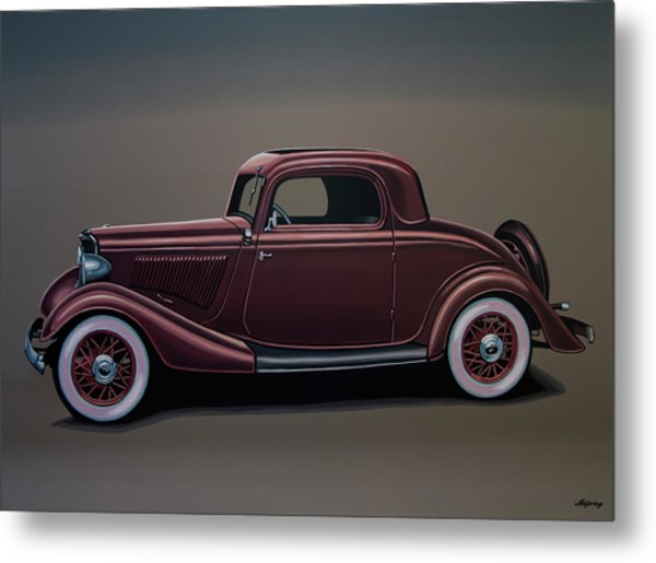 Ford 3 Window Coupe 1933 Painting Metal Print
