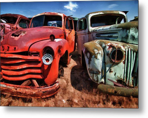Ford And Chevy Standoff Metal Print