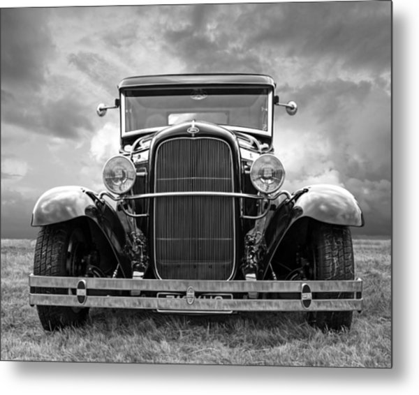 Ford Coupe Head On In Black And White Metal Print