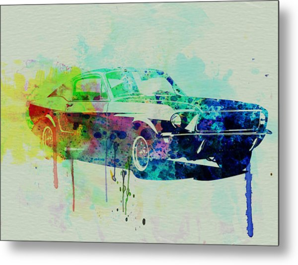 Ford Mustang Watercolor 2 Metal Print