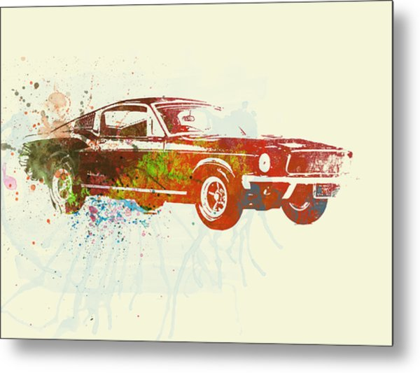 Ford Mustang Watercolor Metal Print