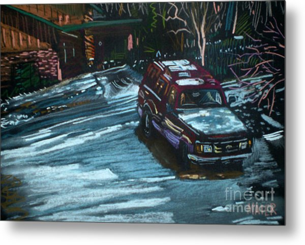 Ford Range In The Snow Metal Print by Donald Maier