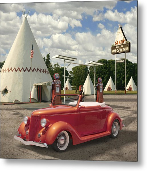 Ford Roadster At An Indian Gas Station 2 Metal Print