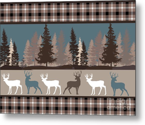 Forest Deer Lodge Plaid II Metal Print