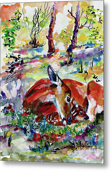 Forest Doe And Fawn Whimsical Watercolor Metal Print