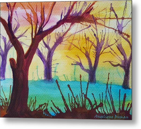Metal Print featuring the painting Forest Fanale by Angelique Bowman