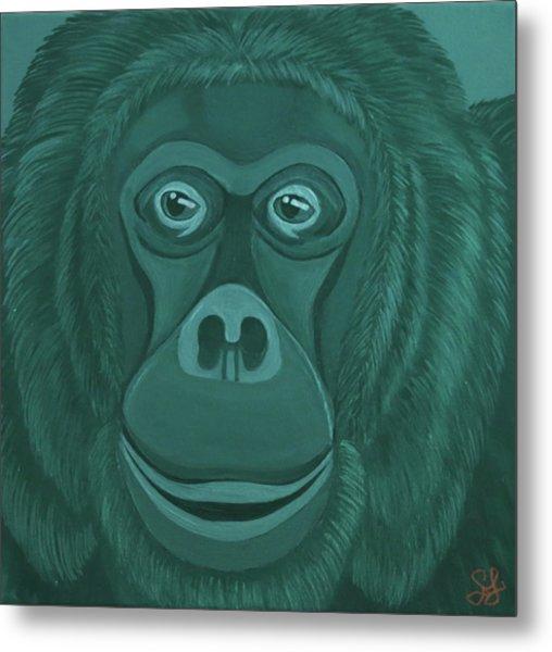 Forest Green Orangutan Metal Print
