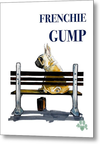 Forest Gump French Bulldog Caricature Art Print Metal Print