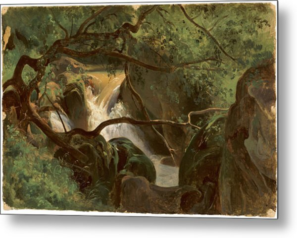Forest Interior With A Waterfall Papigno Metal Print